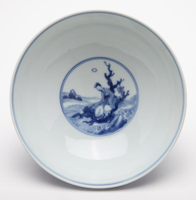 Ciotola - Porcellana - An Underglaze Blue Bowl Depicting Immortals - Cina - Kangxi (1662-1722)