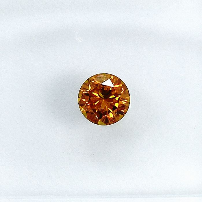 Diamond - 0.22 ct - Brilliant - Natural Fancy Deep Orangy Yellow - Si2 - NO RESERVE PRICE