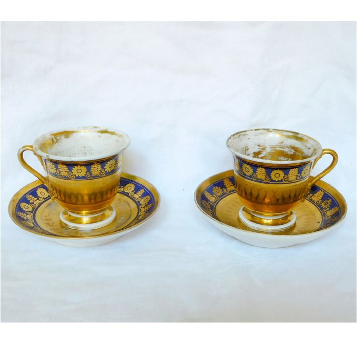 Porcelaine de Paris, Darte Frères - pair of coffee cups with blue and gold decoration from the Empire period circa 1805 - Directoire - Porcelain