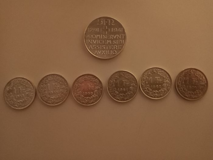 Switzerland - 7 Coins 1941-1970 - Silver