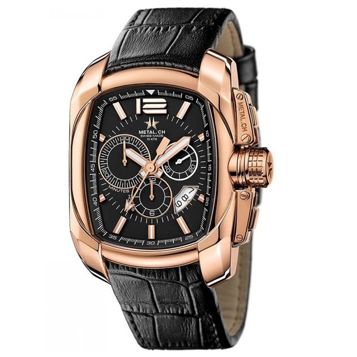 Metal.ch - Chronograph Club Rose Gold PVD with Black Leather Strap Swiss Made - 5320.47 - Heren - Brand New