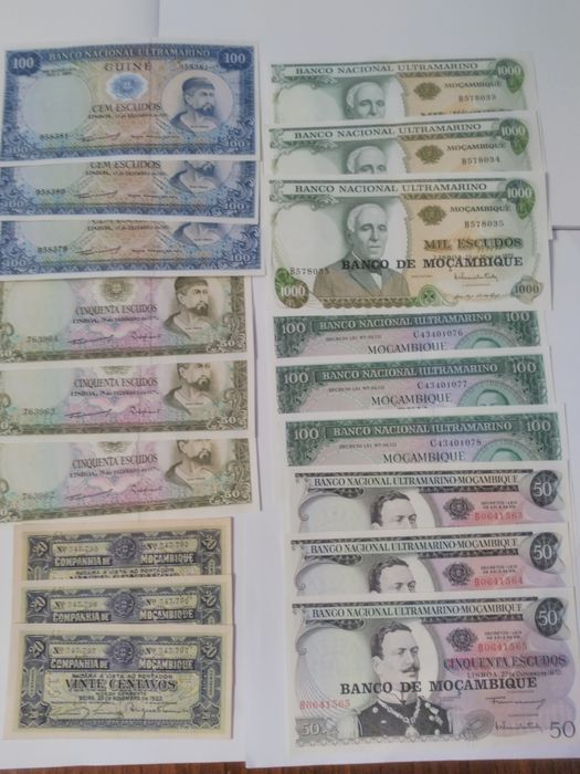 Portugal and colonies - 18 banknotes - Various dates