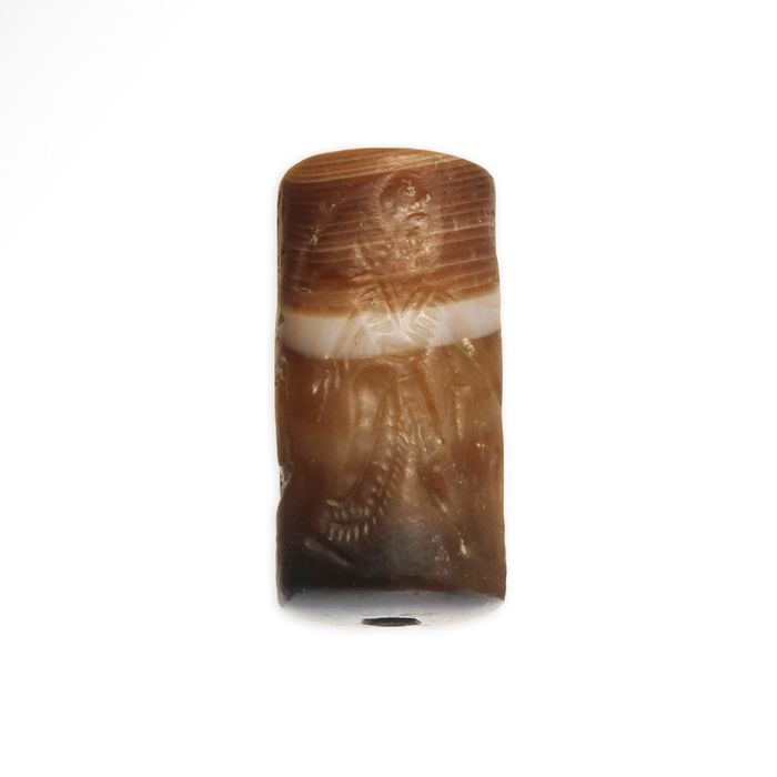 Assyrian Agate Cylinder Seal with King's Hunting Scene & Inscription