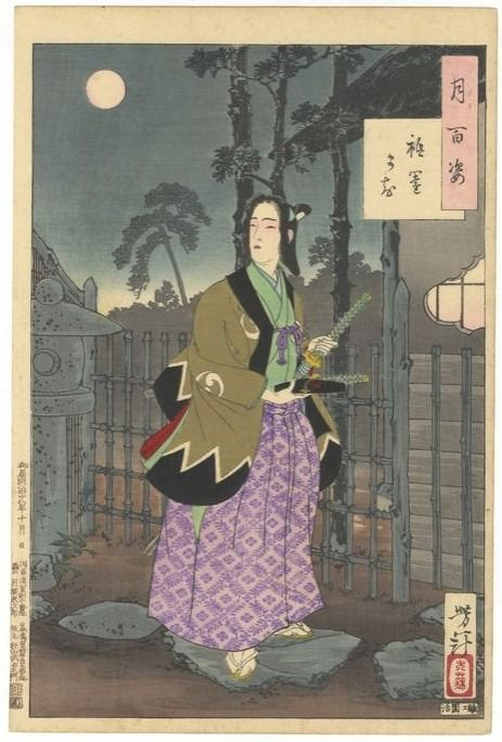 "Xilografia originale - Carta Washi - Samurai - Tsukioka Taiso Yoshitoshi (1839-1892) - 'The Gion District' 祇園まち - From the series ""One Hundred Aspects of the Moon"" 月百姿 - Giappone - 1885 (Meiji 18), ottobre"