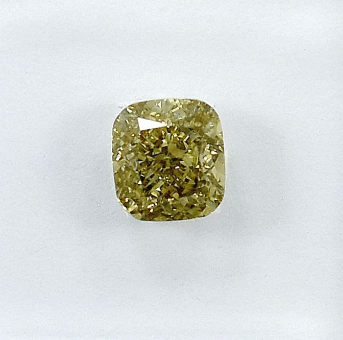 Diamond - 0.70 ct - Cushion - Natural Fancy Brownish Yellow - VS2 - NO RESERVE PRICE