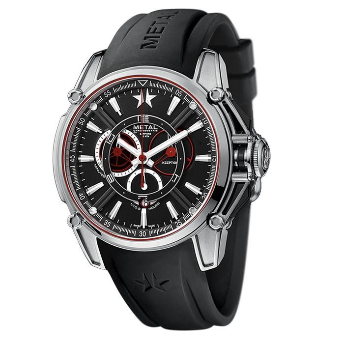 Metal.ch - Chronograph Inception Steel with Black Rubber Strap Swiss Made - 9120.44 - Heren - Brand New
