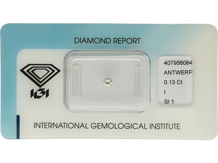 1 pcs Diamant - 0.13 ct - Brillant - I - SI1 ***No Reserve***