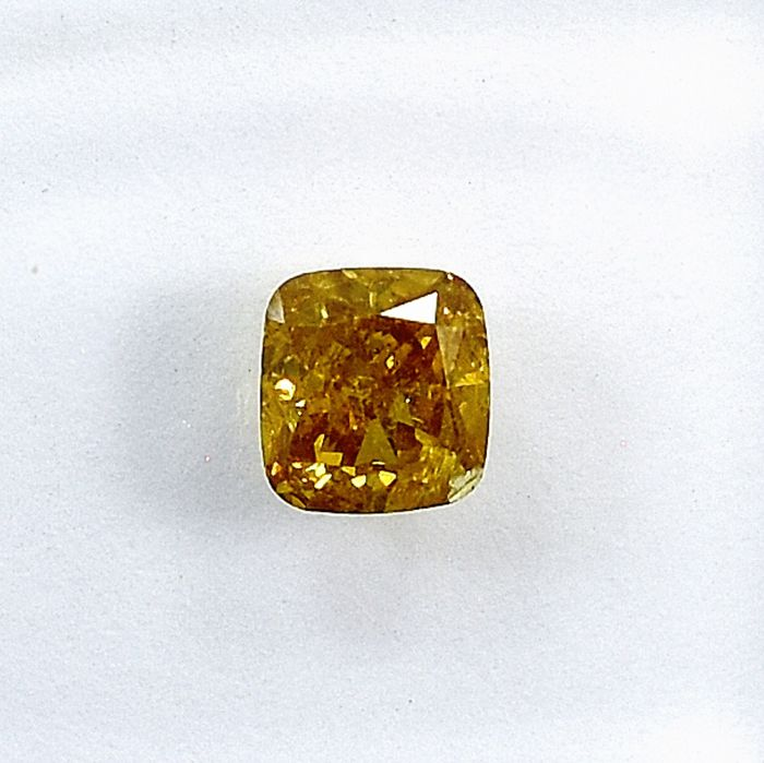 Diamant - 0.43 ct - Kissen - Natural Fancy Intense Yellow - I2 - NO RESERVE PRICE