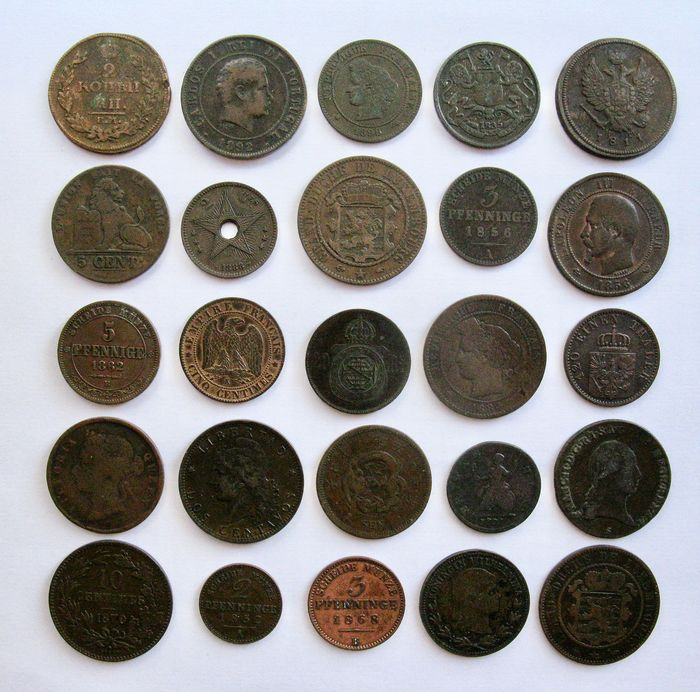 """World - Lot various """"better"""" old coins 1775/1898 (25 different) - Bronze, Copper"""