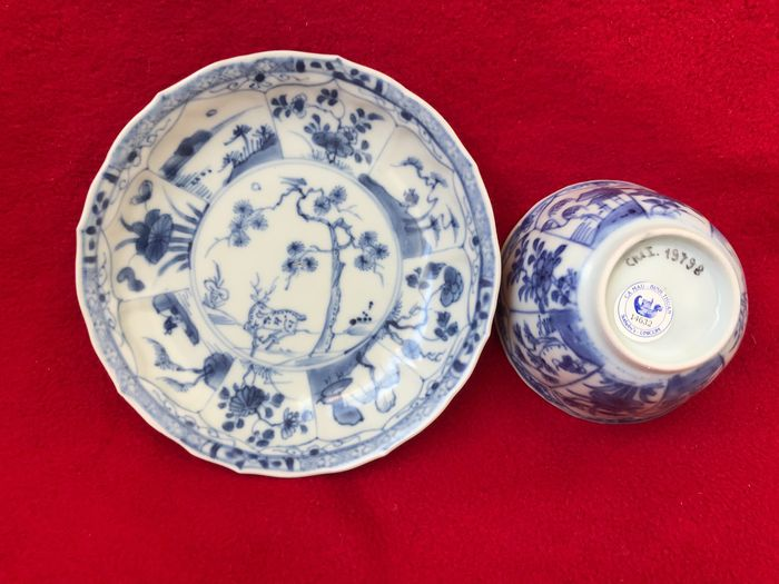 A Blue and white tea bowl and saucer from the Ca Mau wreck - Porcelain - China - Yongzheng (1723-1735)