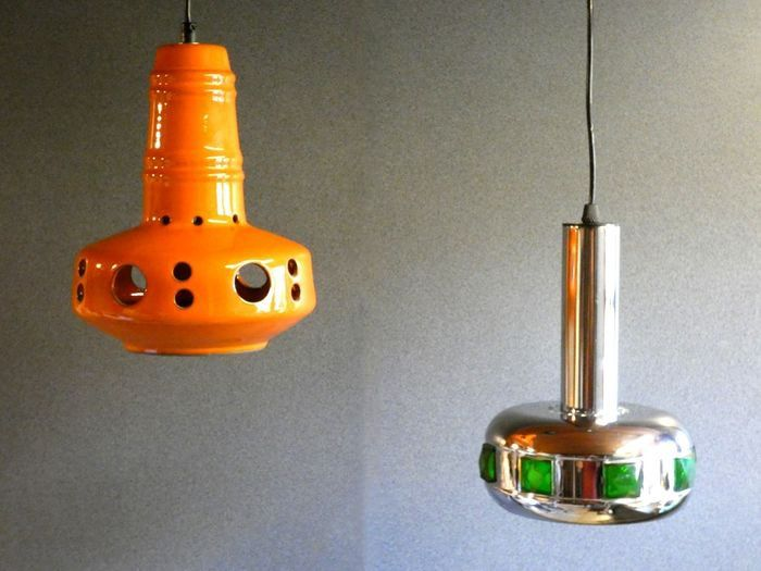 Vintage Chrome and Ceramic hanging lamp - 1960-69