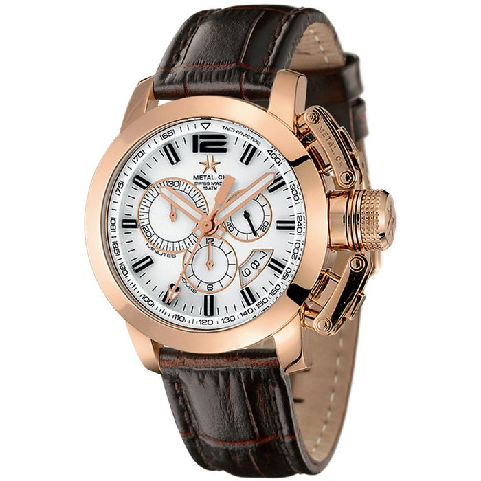 Metal.ch - Chronograph 44MM Rose Gold PVD Date with Brown Leather Strap Swiss Made - 2319.44 - Heren - Brand New