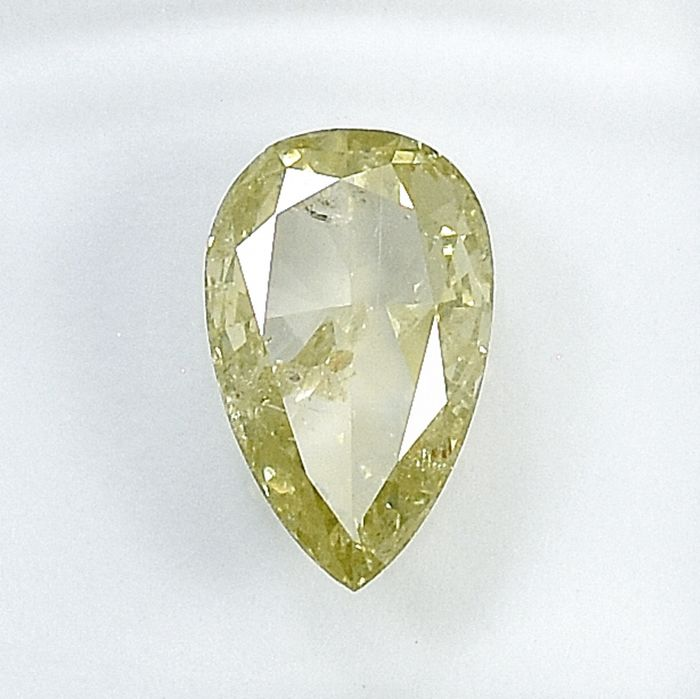 Diamant - 1.01 ct - Birne - Natural Fancy Light Brownish Yellow - I1 - NO RESERVE PRICE