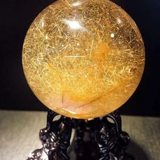 Pure natural golden hair crystal Sphere - 6.6×6.6×6.6 cm - 404 g