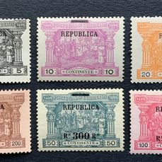 Portugal 1911 - 'Continente' postage due overprinted stamps - Mundifil 192/197