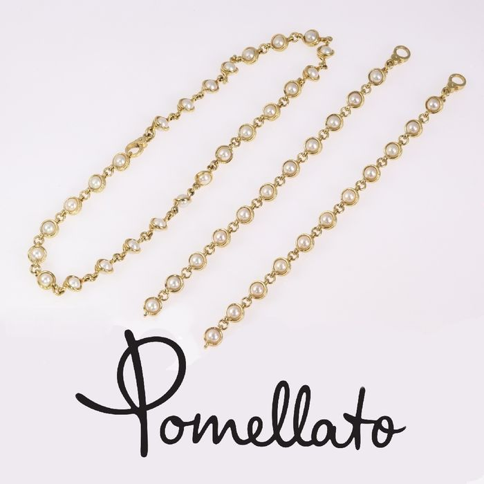 Pomellato - 18 kt. Yellow gold - Set of bracelets and necklace also to make one large necklace - Pearl