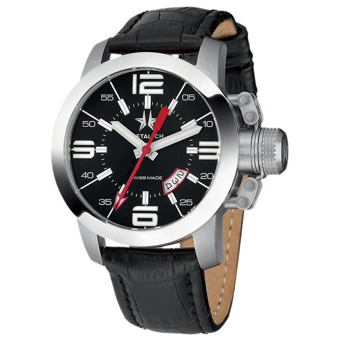 Metal.ch - 47MM Black Dial Date with Black Leather Strap Swiss Made - 1120.47 - Heren - Brand New