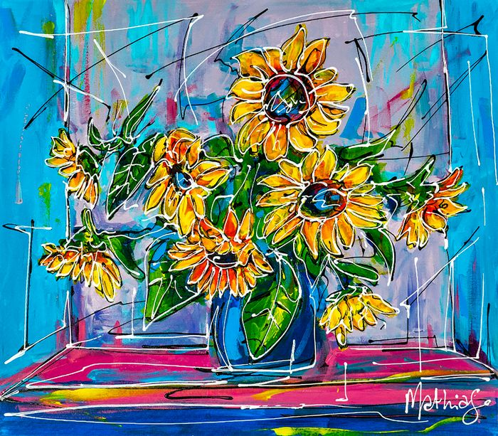 Mathias - Sunflowers in a vase