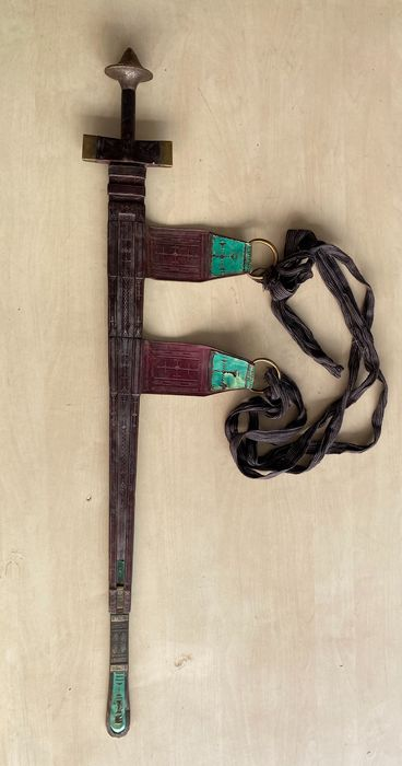 Sword (1) - Cloth, Copper, Damascus steel/iron, Leather - Tuareg - Sudan
