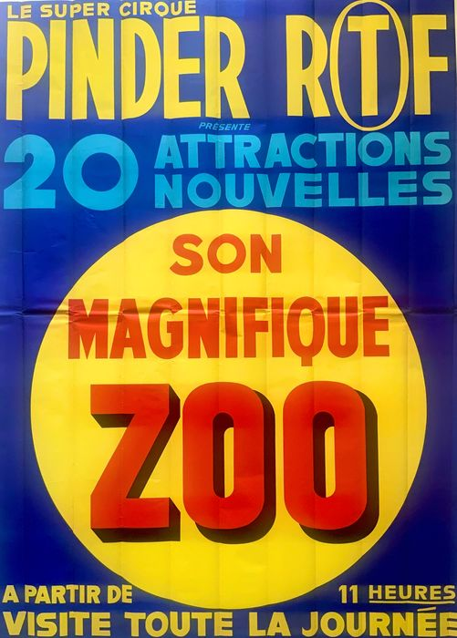 Anonymous - Large Cirque PINDER ORTF With Magnificent ZOO Circus Poster - 1966 - Anni '60