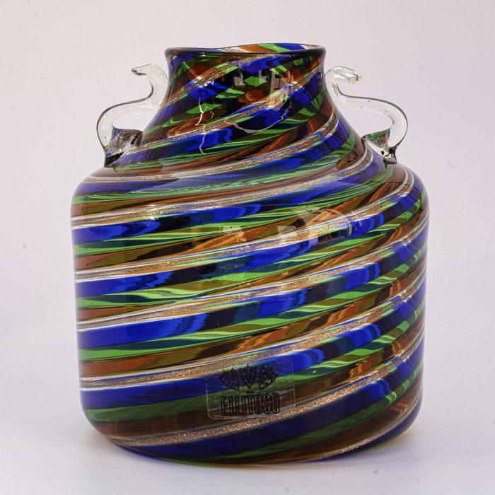 """Fratelli Toso - Vaas """"A Spirale"""" - Hoogte 12,5 cm - Glas"""