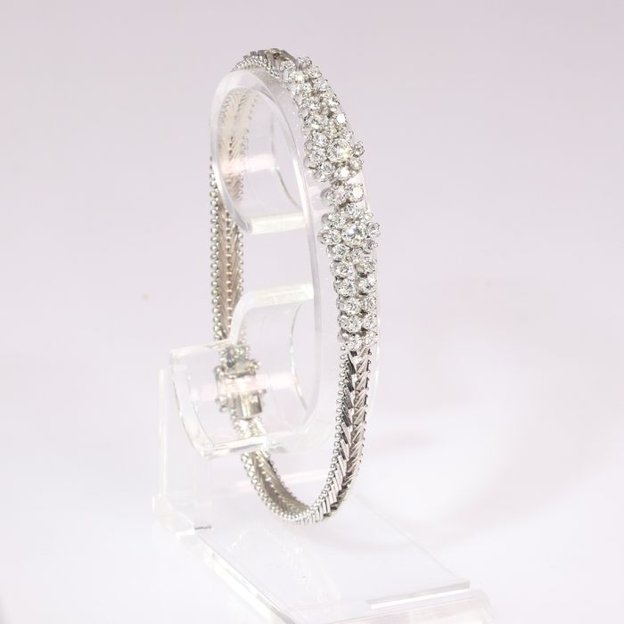 18 kt. White gold - Bracelet, Cocktail, Vintage 1950's Fifties - Diamonds, Total diamond weight 1.35 crt - Natural (untreated)