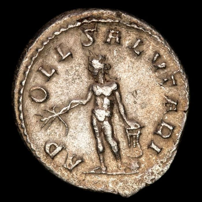 Roman Empire. Trebonianus Gallus (AD 251-253). AR Antoninianus,  Rome - APOLL SALVTARI, Apollo Salutaris holding olive branch and lyre resting upon rock.