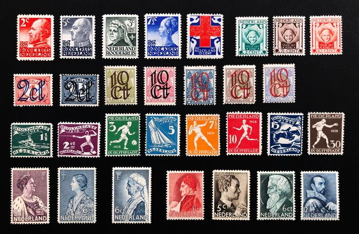 Paesi Bassi 1923/1935 - Compilation with, amongst others, Red Cross, Olympiad and Clearance issue - NVPH 114/120, 141/143, 203/207, 212/219, 265/266, 269, 274/277