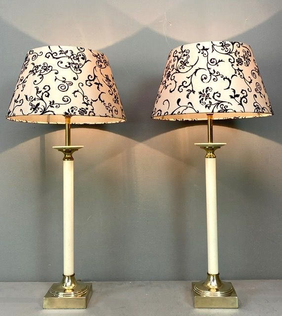 Kullmann - Pair of Gilded French Empire Lamps from the 1970s