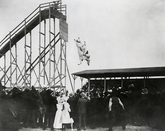 C.E. Holmboe (XX)/Library of Congress - 'The Daring Ride of Miss Eunice Padfield & Her Diving Horse', c.1905