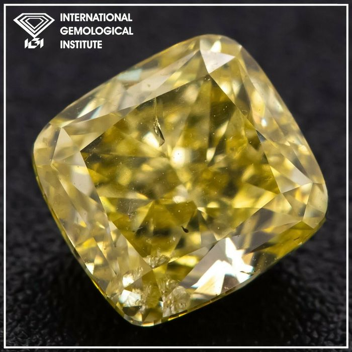 Diamant - 1.03 ct - Coussin - fancy intens yellow - SI2