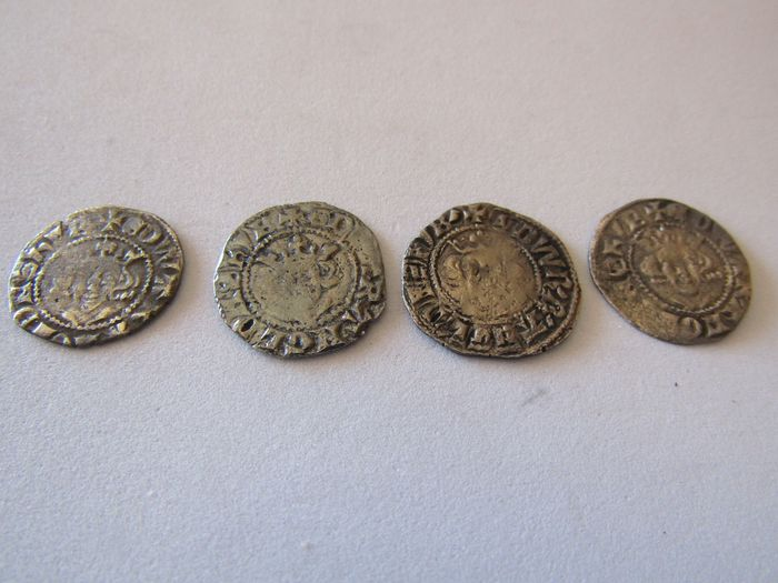Great Britain - Pennies Edward I AD 1272-1307 London (4 pieces)  - Silver