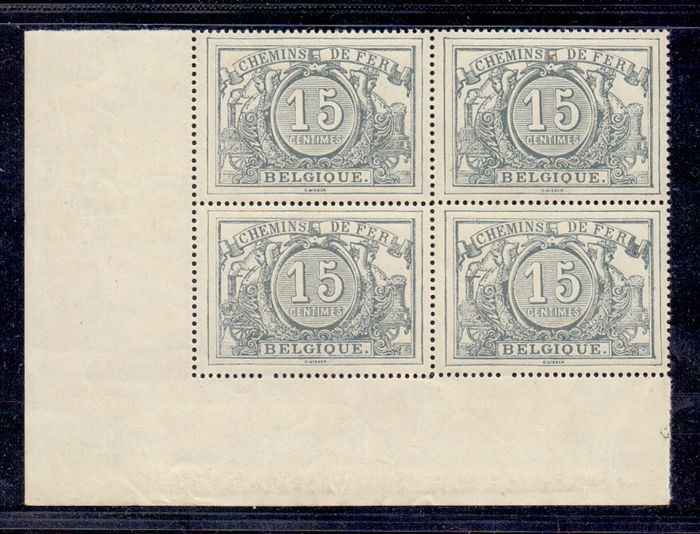 Belgio 1894 - Railway stamp 1882/1894: 15c grey with watermark - OBP / COB TR 8 in blok van 4 met hoekstroken
