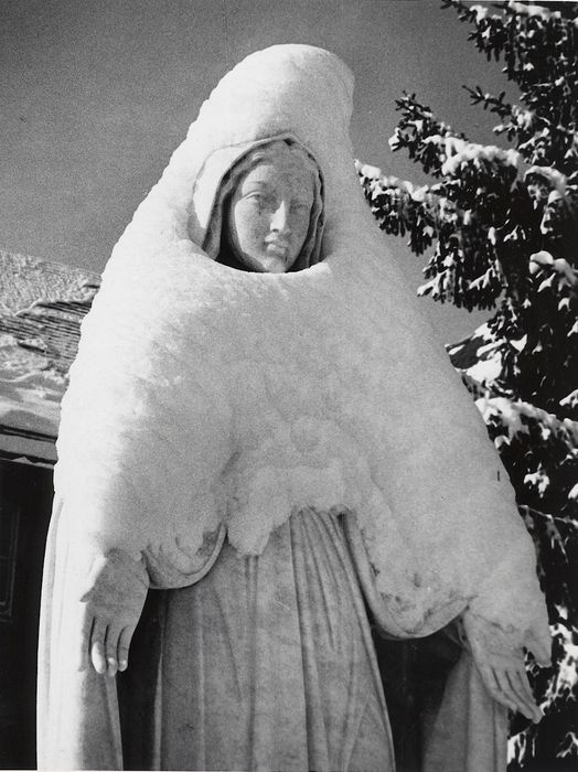 Le Fevre (XX) - Virgin Mary Statue Cloaked in Snow, 1971