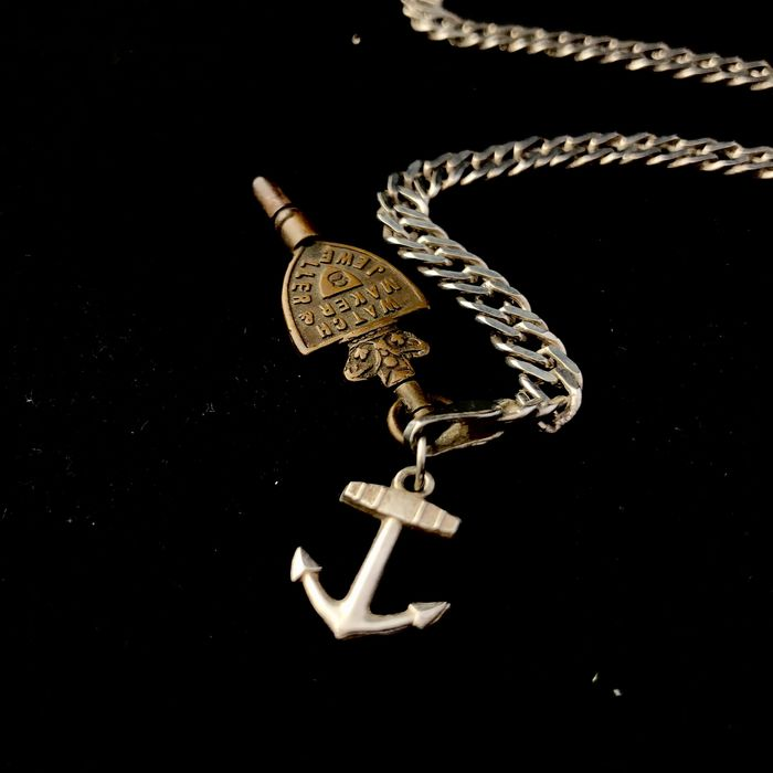 Silver Necklace Chain - With antique key & silver anchor - NO RESERVE PRICE  - Unisex - 1901-1949