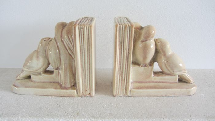 Odyv - Art deco earthenware bird bookends (2)