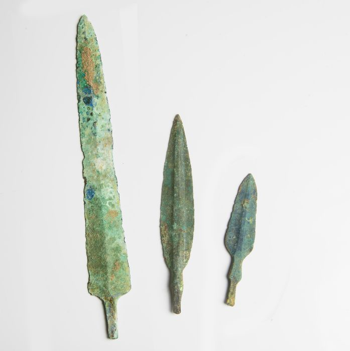 Luristan Bronze Blade and Weapon Point Group - 24.2×3×0.3 cm - (3)