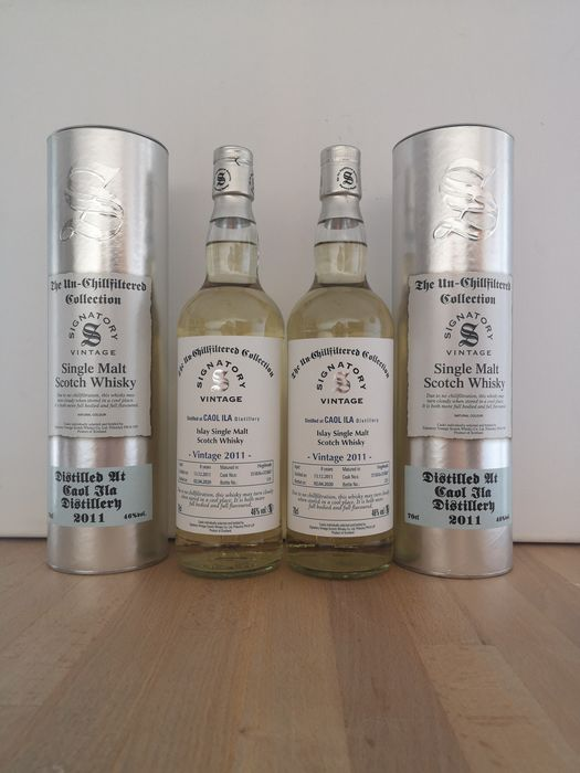 Caol Ila 2011 8 years old The Un-Chillfiltered Collection Cask 315836 + 315847 - Signatory Vintage - b. 2020 - 70cl - 2 bottles