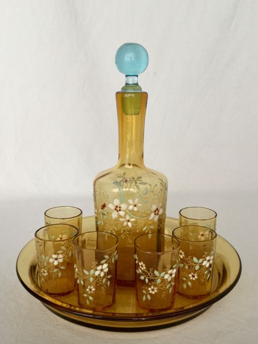 François Théodore Legras - Enamelled glass liqueur set, crockery with 6 glasses, carafe and tray