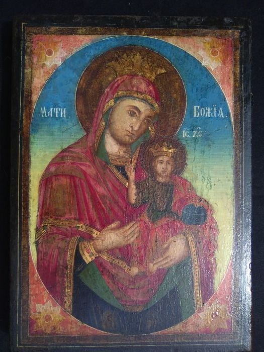 Icon, Virgin and child, h 40 cm (1) - Wood - Early 19th century