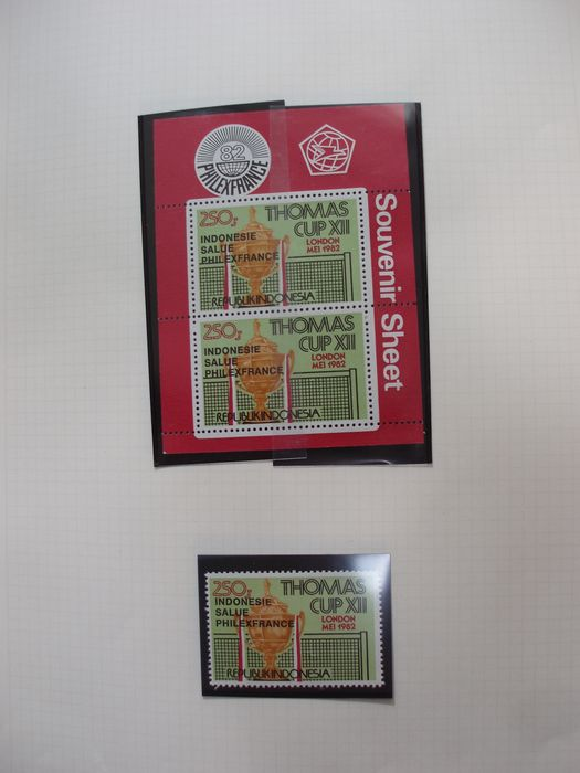 Indonesien 1949/2002 - Indonesia in thick stock book and 3 victoria albums. (MNH behind windows) - Zonnebloem/Sunflower