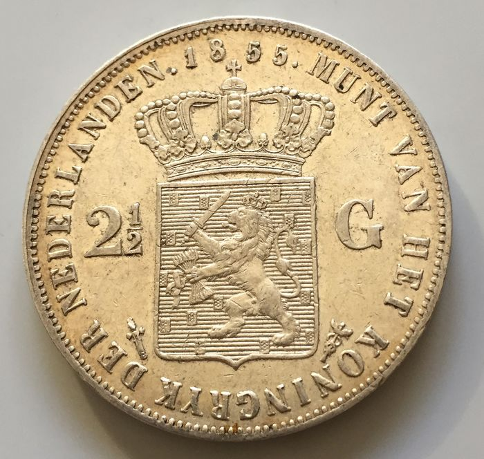 The Netherlands - 2 1/2 gulden 1855 Wllem III - Silver