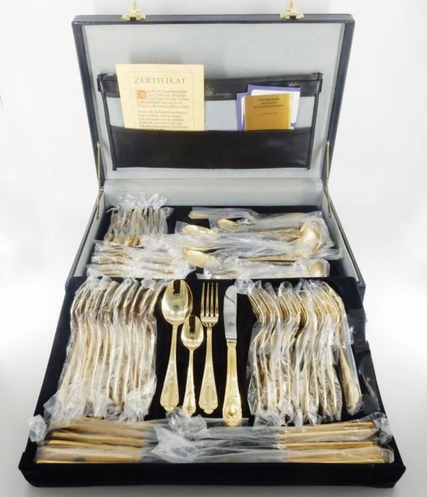 "Edler Besteckkoffer - Solingen ""Gloria Royal"" - Housewife (70) (12 Pers) -Style Louis XIV - .999 (24 kt) gold"