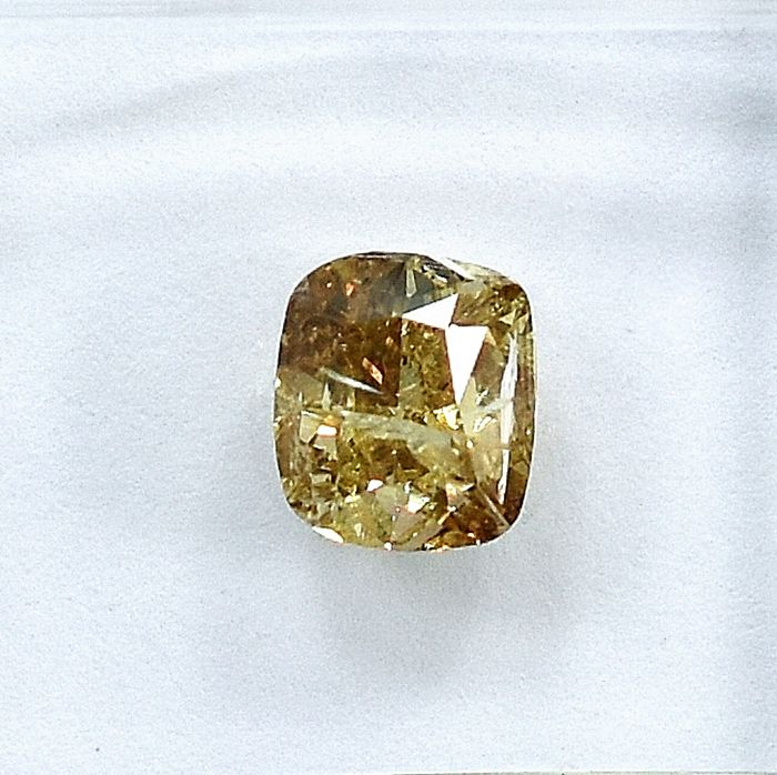 Diamant - 1.01 ct - Coussin - W-X, light yellowish brown - I1 - NO RESERVE PRICE