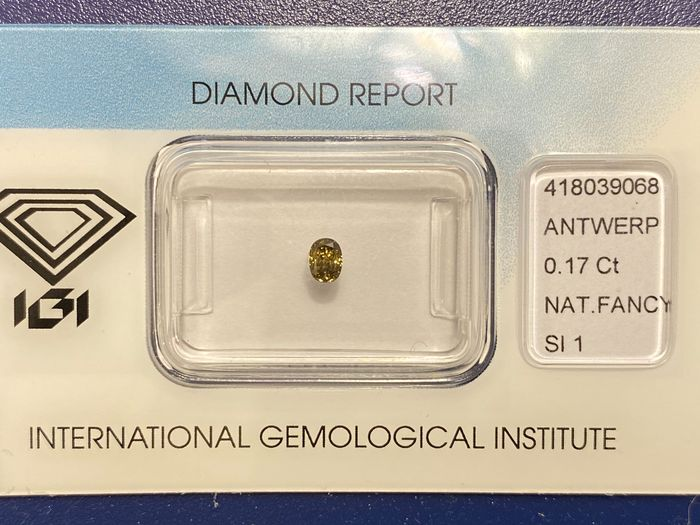 1 pcs Diamond - 0.17 ct - Brilliant, Oval - fancy deep brownish greenish yellow - SI1