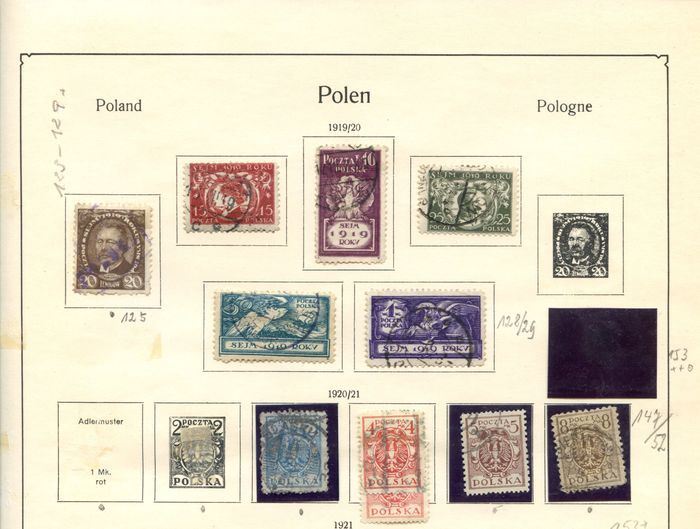 Pologne 1918/1952 - Stamps from Poland on old album pages.