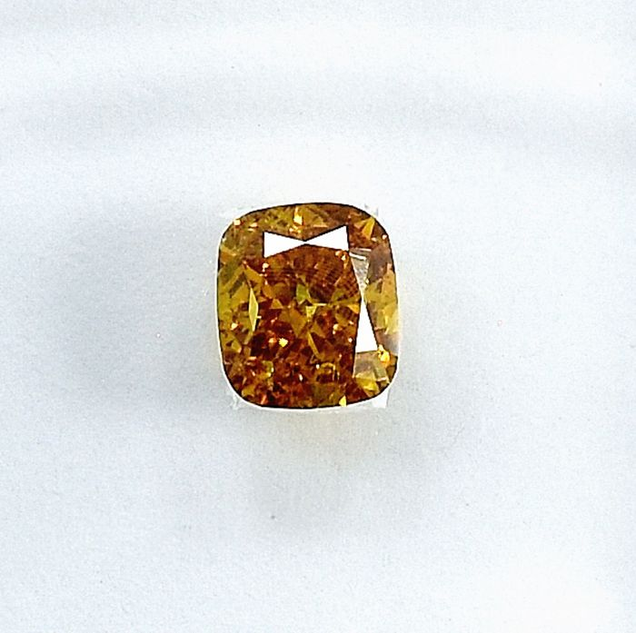 Diamant - 0.50 ct - Coussin - Natural Fancy Orangy Yellow - VS2 - NO RESERVE PRICE