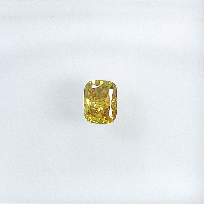 Diamant - 0.14 ct - Coussin - Natural Fancy Deep Greenish Yellow - VS2 - NO RESERVE PRICE