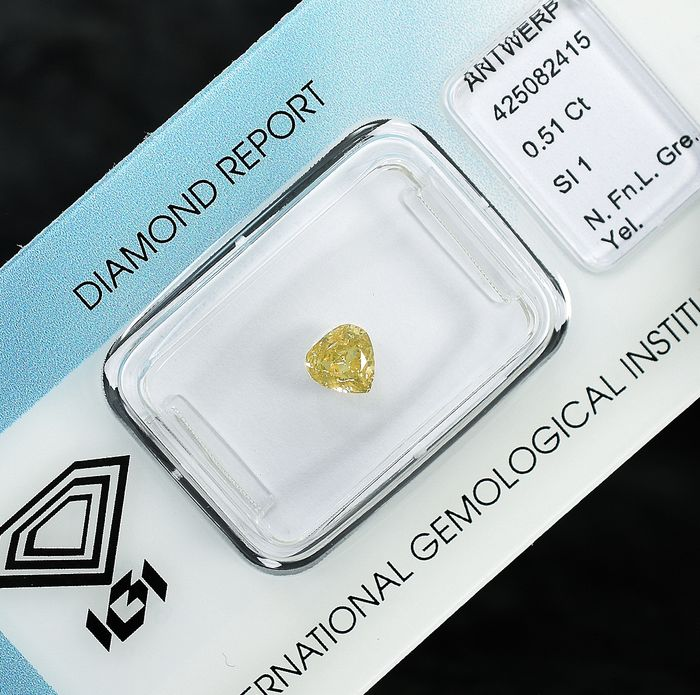 Diamant - 0.51 ct - Poire - Natural Fancy Light Greenish Yellow - SI1
