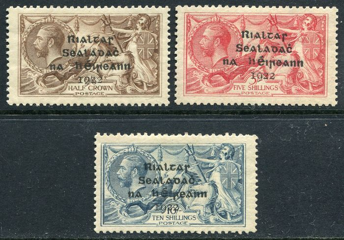 Ireland 1922 - Seahorses with T3, Dollar Printed House overprint in black - Stanley Gibbons 17, 19, 21